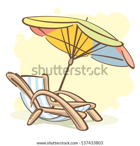 chaise-longue and parasol - raster copy of vector image - stock photo
