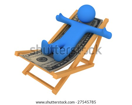 Chaise longue made of money. Isolated on white background - stock photo