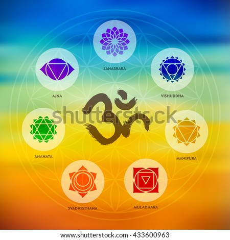 Chakra icons composition with om calligraphy and sacred geometry design on colorful blur background. - stock photo