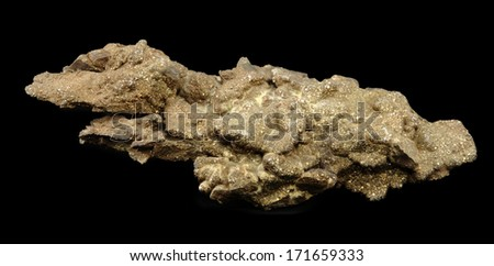 Chalchopyrite isolated on black background. Chalcopyrite is used as iron ore - stock photo