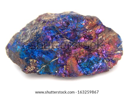 chalcopyrite isolated on the white background - stock photo