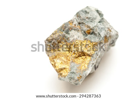 chalcopyrite mineral sample with gold and copper with pyrite - stock photo
