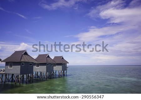 Chalet at Mabul Island, Sabah Malaysia  - stock photo