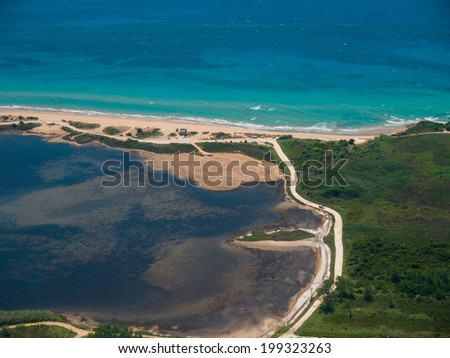 Chalikounas beach in Corfu Greece view from the air - stock photo