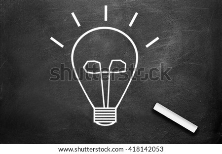 Chalk and light bulb write on chalkboard background , idea concept - stock photo