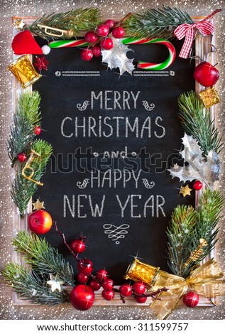 Chalk blackboard Christmas congratulation with Christmas decorations. Retro style. Christmas card. - stock photo