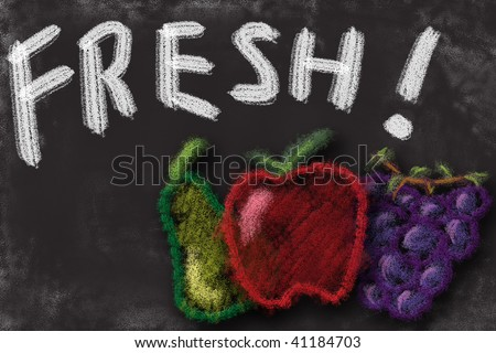 Chalk board drawing of fresh fruit. Apple pear grapes healthy eating message. - stock photo