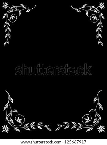 Chalk Board Flower Frame - stock photo