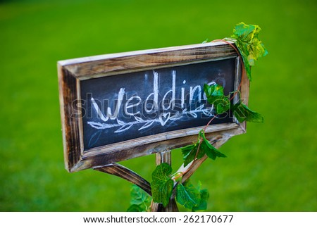 """chalk board with the word """"Wedding"""" - stock photo"""