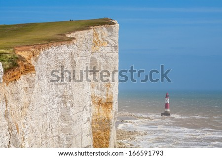 Chalk cliff at Beachy Head near Eastbourne. East Sussex. England - stock photo