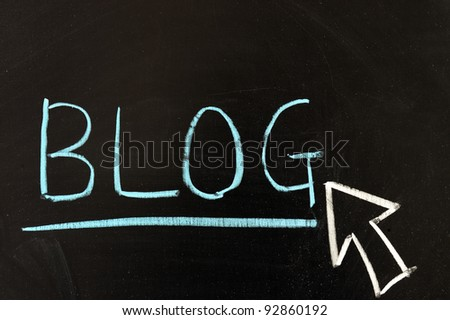 "Chalk drawing - ""Blog"" word written on chalkboard - stock photo"