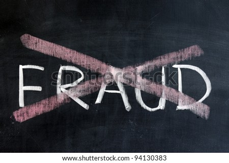 Chalk drawing - No fraud - stock photo