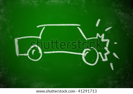 Chalk drawing of car crash. Simple icon for accident concept. - stock photo