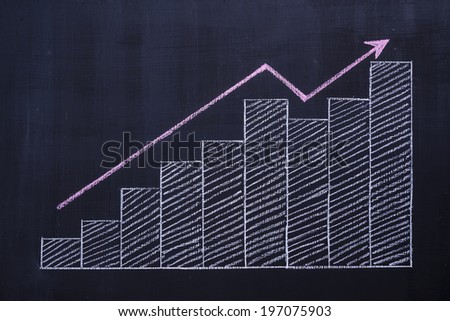 Chalk drawing on chalkboard and profit bar chart and up arrow - stock photo