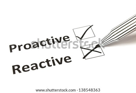 Chalk drawing - Reactive or proactive concept - stock photo