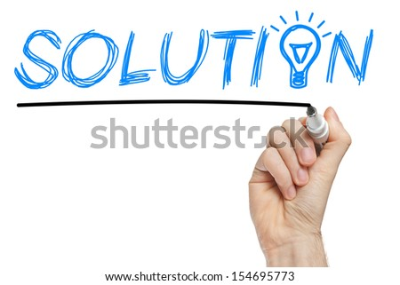 Chalk drawn light bulb on the place of the letter O in the word Solution - stock photo