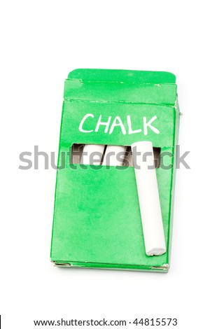 Chalk in green box close up - stock photo