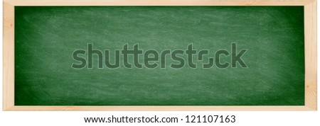 Chalkboard / blackboard banner. Close up of empty school chalkboard / green blackboard. Great texture. Photo. - stock photo