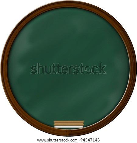 Chalkboard blackboard with frame and brush. Chalkboard texture empty blank with chalk traces and square wooden frame. - stock photo