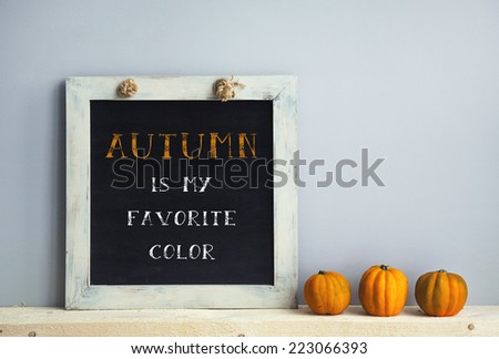 chalkboard frame on the grey wall with books  pumpkins. autumn is my favorite color - stock photo