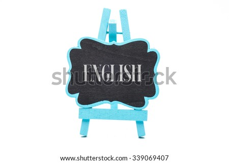 Chalkboard in blue wooden frame isolated on white background with english word - stock photo