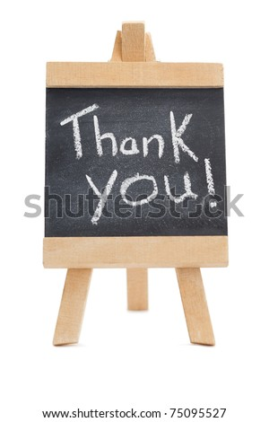 Chalkboard with the words thank you written on it isolated against a white background - stock photo