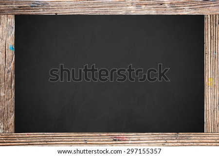 Chalkboard with wooden frame. - stock photo