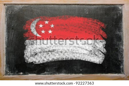 Chalky singapore flag painted with color chalk on old blackboard - stock photo