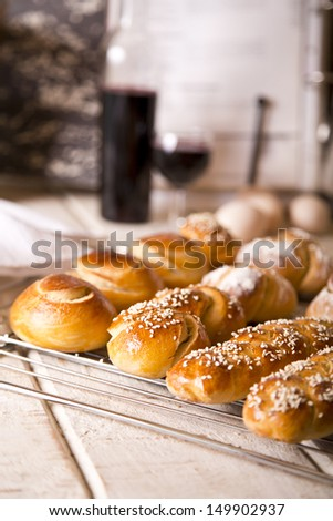 Challah in different shapes and sizes for Shabbat and Rosh Hashanah - stock photo