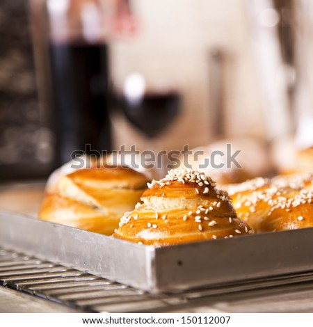 Challah in different shapes and sizes for the Sabbath and Rosh Hashanah - stock photo