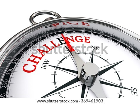 Challenge motivation red word on concept compass, isolated on white background - stock photo