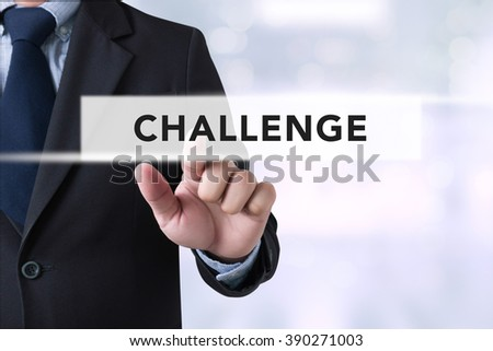 Challenge on virtual screen.on blurred city background, - stock photo