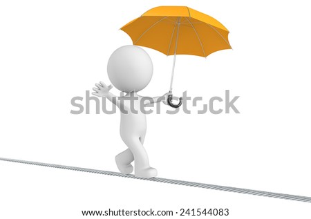 Challenges.The Dude walking on a rope holding orange umbrella. Isolated. - stock photo