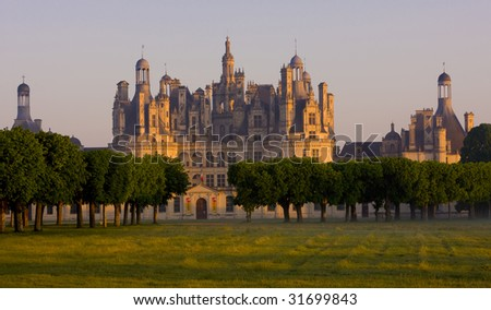 Chambord Castle at sunrise, Loir-et-Cher, Centre, France - stock photo