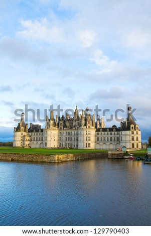 Chambord chateau at sunset  in the Loire Valley, France - stock photo