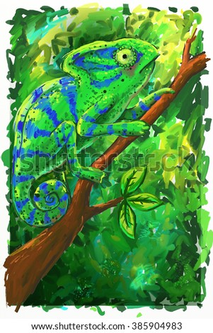 Chameleon  in the forest Illustration. Green chameleon on a branch. Unusual illustration for fashion print, poster, postcard, textiles, fashion design - stock photo