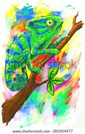 Chameleon on multicolored background Illustration. Green chameleon on a branch. Unusual illustration for fashion print, poster, postcard, textiles, fashion design - stock photo