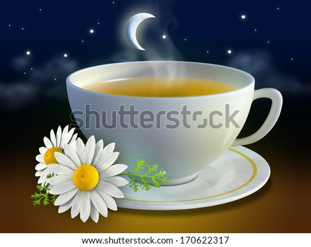 Chamomile cup with some flowers and a night background. Digital illustration. - stock photo