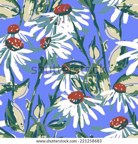 Chamomile seamless pattern - stock photo