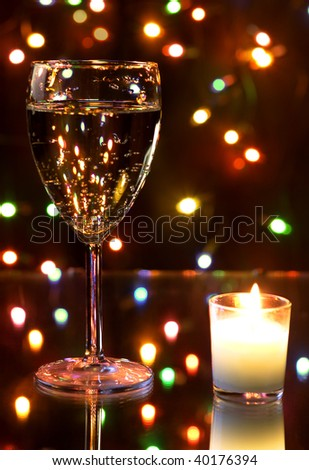 Champagne and garland - stock photo