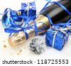 Champagne and New Year's ornaments - stock photo