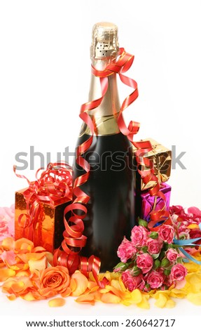 Champagne and roses - stock photo