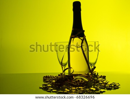 Champagne and two glasses - stock photo