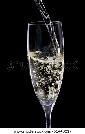 champagne being poured into a glass - stock photo