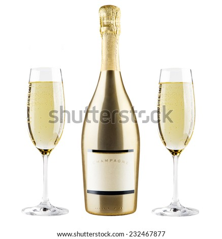 Champagne bottle and champagne glasses - stock photo