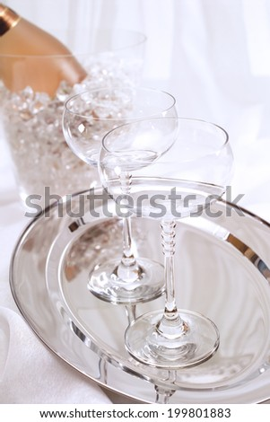 Champagne, bottle and glasses - stock photo
