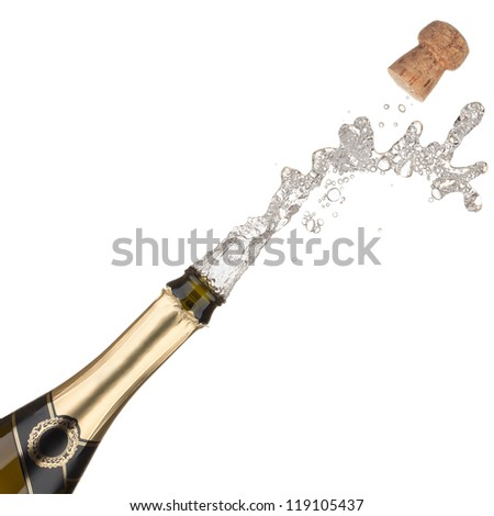 Champagne bottle explosion, isolated on the white background. - stock photo