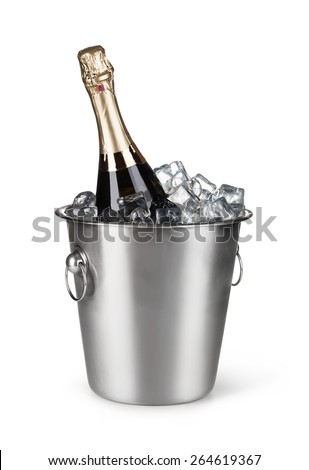 Champagne bottle in a bucket with ice on the white background - stock photo