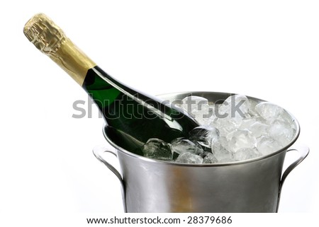 Champagne bottle in a cooler with ice on white background - stock photo
