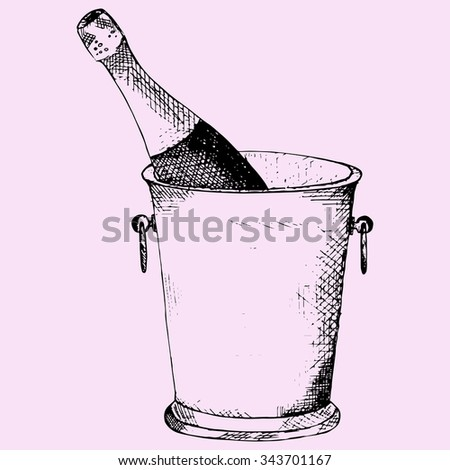 Champagne bottle in a ice bucket, doodle style, sketch illustration, hand drawn, raster - stock photo